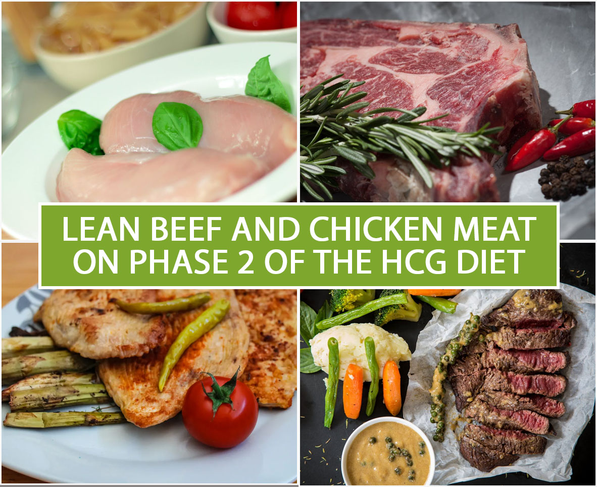 LEAN BEEF AND CHICKEN MEAT ON PHASE 2 OF THE HCG DIET